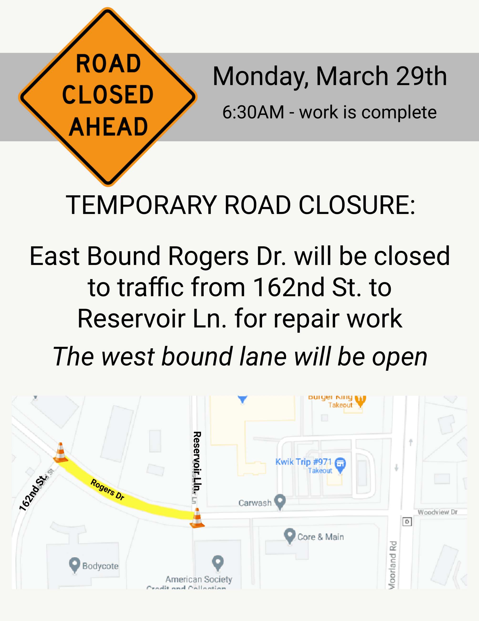 Road Closed March 29